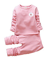 cheap -Girls' Daily Animal Print Clothing Set, Polyester Spring Long Sleeves Simple Blushing Pink Yellow