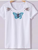 abordables -Tee-shirt Femme, Géométrique - Imprimé Chic de Rue Manche Papillon