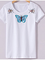 baratos -Mulheres Camiseta Estampado, Geométrica