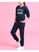cheap -Girls' Daily Geometric Clothing Set, Polyester Spring Long Sleeves Vintage Blushing Pink Navy Blue
