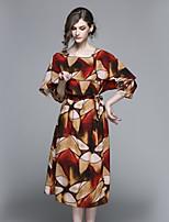 Недорогие -Жен. Классический А-силуэт Платье - Геометрический принт, С принтом Средней длины
