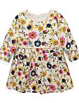 preiswerte -Mädchen Kleid Alltag Ausgehen Blumen Kunstseide Frühling Herbst Langarm Freizeit Blau Beige