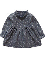 cheap -Girl's Daily Polka Dot Dress, Cotton Spring Summer Long Sleeves Simple Casual Gray