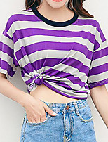 cheap -Women's Going out Basic Street chic T-shirt - Striped