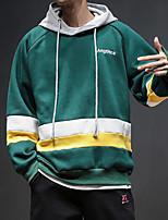 cheap -Men's Daily Color Block Hooded Hoodie Regular, Long Sleeves Winter