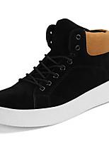 baratos -Homens sapatos Flocagem Primavera Outono Conforto Tênis para Casual Preto Cinzento