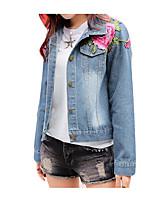 cheap -Women's Casual Denim Jacket-Floral Print,Print Shirt Collar