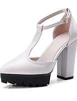 preiswerte -Damen Schuhe Künstliche Mikrofaser Polyurethan Frühling Herbst Neuheit Komfort High Heels Blockabsatz Spitze Zehe Schnalle für Büro &