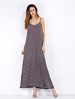 baratos -Mulheres Solto Chifon Vestido - Frente Única Estampado, Floral Decote V Longo