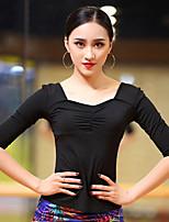 abordables -Danse latine Hauts Femme Utilisation Coton Modal Ruché Demi Manches Haut