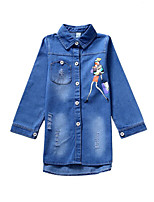 cheap -Girls' Daily Solid Colored Print Trench Coat, Polyester Spring Fall Long Sleeves Simple Casual Blue
