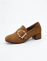baratos -Mulheres Sapatos Couro Ecológico Primavera Outono Conforto Saltos Salto Robusto para Ao ar livre Preto Marron Khaki