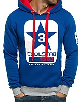 cheap -Men's Sports Long Sleeves Hoodie - Color Block Letter Hooded