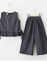 Недорогие -Девичий Платье Повседневные Хлопок Однотонный Лето С короткими рукавами Простой Активный Серый