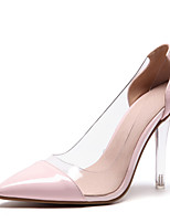 cheap -Women's Shoes Patent Leather Spring Summer Basic Pump Heels Crystal Heel Pointed Toe for Office & Career Party & Evening White Yellow Pink
