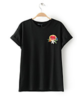 cheap -Women's Holiday Basic Cotton T-shirt - Solid Colored Embroidered