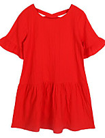 cheap -Girl's Daily Solid Dress, Cotton Spring Summer Short Sleeves Simple Casual Red