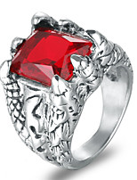 cheap -Men's Synthetic Ruby Statement Ring - Four Prongs Fashion Cool Rock Black Red Blue Ring For Bar Club