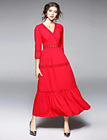 abordables -Femme Coton Mince Gaine Robe - Basique, Couleur Pleine Col en V Maxi