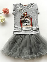 cheap -Girls' Daily Print Clothing Set, Cotton Polyester Spring Summer Sleeveless Cute Active Black Blushing Pink Gray