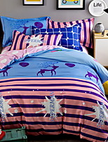 cheap -Duvet Cover Sets Cartoon 3 Piece Poly/Cotton Reactive Print Poly/Cotton 1pc Duvet Cover 1pc Sham 1pc Flat Sheet