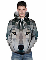 cheap -Men's Sports Active Hoodie - Geometric Color Block, Print Hooded