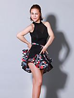 abordables -Danse latine Robes Femme Entraînement Utilisation Chinlon Motif / Impression Combinaison Sans Manches Taille moyenne Robe