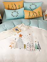 cheap -Duvet Cover Sets Cartoon 4 Piece Poly/Cotton Reactive Print Poly/Cotton 1pc Duvet Cover 2pcs Shams 1pc Flat Sheet