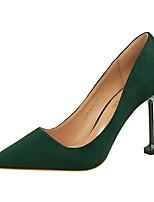 preiswerte -Damen Schuhe PU Samt Frühling Sommer Pumps Komfort High Heels Spulen Absatz Geschlossene Spitze Spitze Zehe für Büro & Karriere Party &