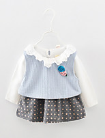 cheap -Girl's Daily Polka Dot Dress, Acrylic Polyester Spring Long Sleeves Simple Light Blue