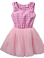 abordables -Robe Fille de Quotidien Tartan Polyester Printemps Sans Manches simple Rose Claire