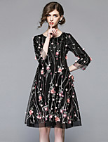 cheap -SHIHUATANG Women's Vintage Sophisticated Loose Dress - Floral, Embroidered