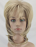 cheap -Synthetic Wig Curly Layered Haircut Ombre Hair Blonde Women's Capless Natural Wigs Mid Length Synthetic Hair