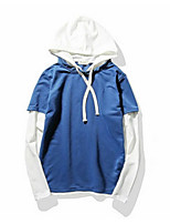 cheap -men's daily color block hooded hoodie regular, long sleeves spring