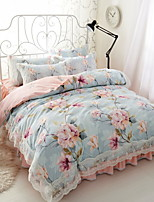 cheap -Duvet Cover Sets Floral 3 Piece Poly/Cotton Jacquard Poly/Cotton 1pc Duvet Cover 1pc Sham 1pc Flat Sheet