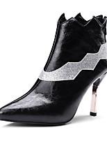 cheap -Women's Shoes Leatherette Winter Fashion Boots Boots Stiletto Heel Pointed Toe Booties/Ankle Boots Sequin for Party & Evening Black
