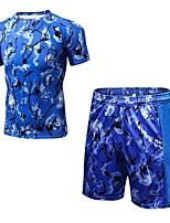 preiswerte -Herrn Active Set Kurzarm Kurze Hose Atmungsaktivität Kleidungs-Sets für Fitness Polyester Schwarz Blau Rot/Weiß S M L XL XXL