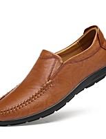 cheap -Men's Shoes Cowhide Nappa Leather Spring Summer Driving Shoes Comfort Loafers & Slip-Ons for Casual Office & Career Black Light Brown