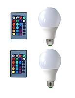 baratos -2pcs 3W * lm E26/E27 Lâmpada Redonda LED 3 leds Decorativa Controle Remoto RGB 200-240V 110-120V 110-130 V 220-240V