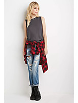 cheap -Women's T-shirt - Solid, Backless