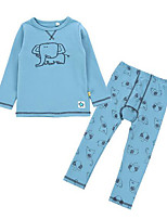 cheap -Unisex Daily Print Clothing Set, Polyester Fall Long Sleeves Active Blue Royal Blue