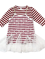 cheap -Girl's Daily Striped Dress, Cotton Spring Fall Long Sleeves Simple Red Gray