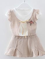 abordables -Robe Fille de Quotidien Couleur Pleine Coton Eté Manches Courtes simple Rose Claire Bleu clair Kaki