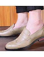 Недорогие -Муж. обувь Кожа Весна Осень Удобная обувь Мокасины и Свитер для Повседневные Черный Оранжевый Бежевый