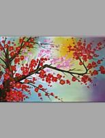 abordables -Pintada a mano Paisaje Floral/Botánico Horizontal, Contemporáneo Modern Lona Pintura al óleo pintada a colgar Decoración hogareña Un Panel