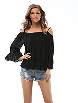 cheap -Women's Going out Street chic Slim T-shirt - Solid Colored Pleated Boat Neck