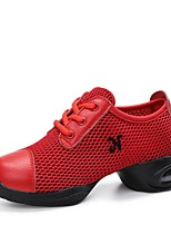 """cheap -Women's Dance Sneakers Tulle Leather Sneaker Outdoor Low Heel White Black Red 1"""" - 1 3/4"""" Customizable"""
