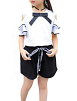 cheap -Girls' Daily Holiday Solid Colored Clothing Set, Cotton Polyester Summer Short Sleeves Active Basic White