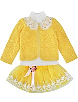 cheap -Girls' Daily Holiday Print Clothing Set, Cotton Polyester Spring Fall Long Sleeves Active Yellow