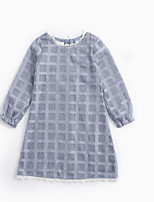 cheap -Girl's Daily Plaid Dress, Cotton Spring Summer Long Sleeves Active Gray